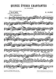 Hyacinthe Eleanore Klose. 15 Etudes Chantantes for Saxophone