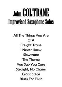 Джон Колтрейн. Improvised Saxophone Solos